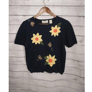 Alfred Dunner Navy Floral Print Grandma Sweater M